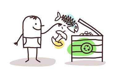 Cartoon Man Making Organic Compost