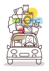 Cartoon Man Moving with Car