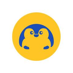 Cute Penguin Circular Icon Illustration