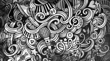 Doodles Musical illustration. Creative music background. Graphic