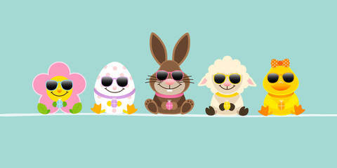 Banner Easter Rabbit & Friends Sunglasses Retro