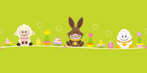 Easter Banner Sheep, Bunny & Egg Green