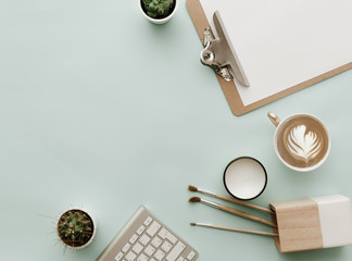 Minimal Modern Hipster Flat Lay Composition with coffee and clipboard