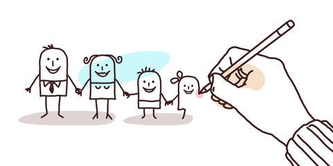 Big Hand Drawing a Cartoon Family