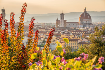 Wall Mural - Aerial view of Florence with the Basilica Santa Maria del Fiore (Duomo), Tuscany, Italy