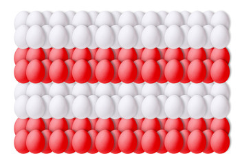 Set of red and white eggs on a white background, laid in a line.