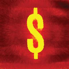Burning dollar sign. Hell money conception. Vector illustration