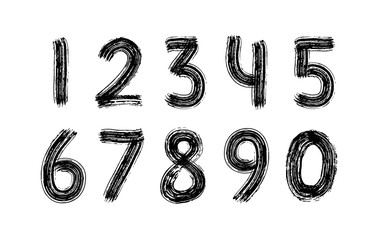 Digits set hand drawn with dry brush. Numbers. Rough strokes modern calligraphy text style. Vector. Black and white