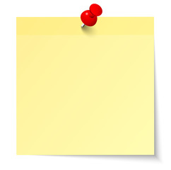 Yellow Stick Note & Red Pin