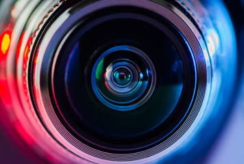 Camera lens and multi-colored backlight blue and red.