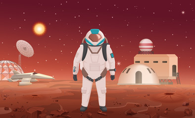 Vector illustration of astronaut in spacesuit standing at colony on planet.