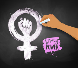 Womens hand drawing Feminism protest symbol