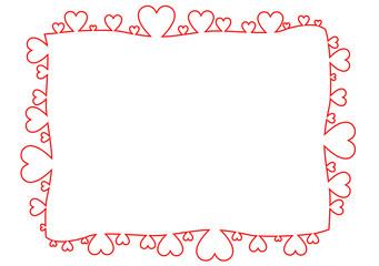 Rechteckiger Rahmen aus roten Herzen