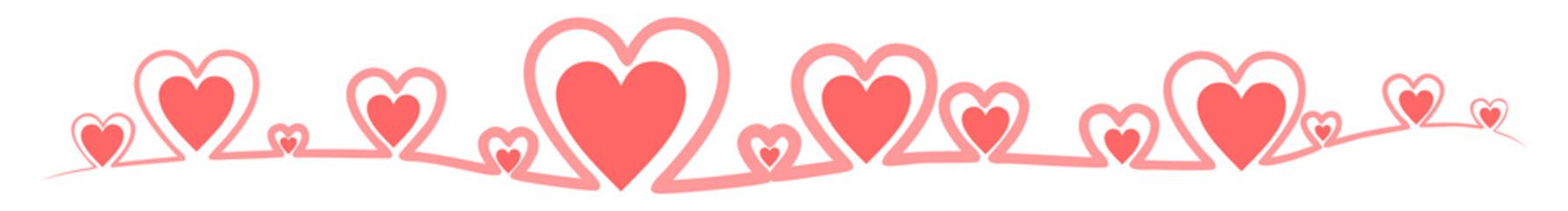 Linie, Banner mit roten Herzen