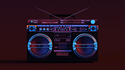 Boombox Moody 80s lighting 3d illustration Fototapete