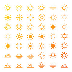 Sun icon line vector set. Sun silhouette. Isolated vector illustration.