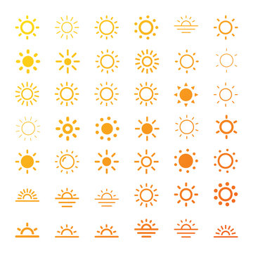 Sun icon line vector set. Sun silhouette. Isolated vector illustration.