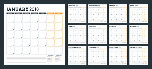 Calendar planner for 2018 year. Week starts on Monday. Vector design print template