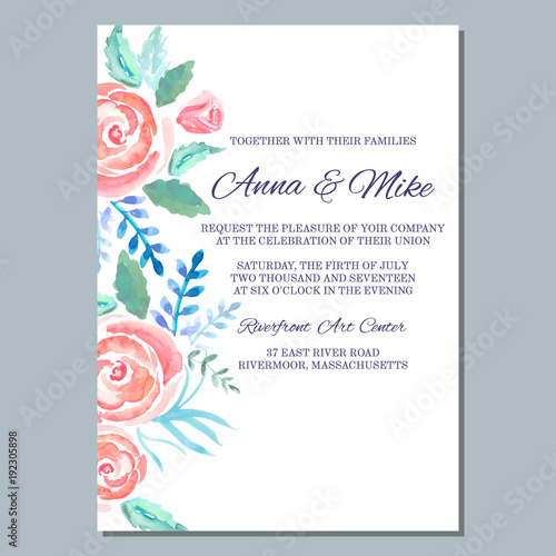Wedding invitation template with watercolor roses thank you card wedding invitation template with watercolor roses thank you card save the date cards maxwellsz