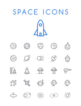 Set of Quality Isolated Universal Standard Minimal Simple Space Black Thin Line Icons on White Background