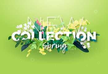 Bright spring design of an ad with a botanical bouquet of flowers, leaves and plant branches on a green background. Typography with the effect of 3d. Integrated inscription, vector illustration.
