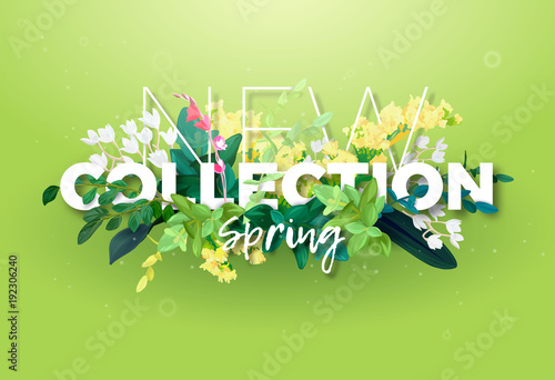 Bright Spring Design Of An Ad With A Botanical Bouquet Flowers Leaves And Plant