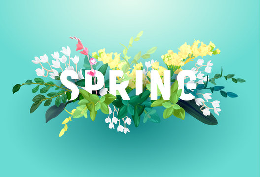 Bright spring design on a blue background. A voluminous inscription with an ornament from flowers, green leaves and plant branches. Vector illustration.