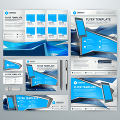 Corporate identity with abstract vector background. Web banner, flyer, leaflet, poster, business card