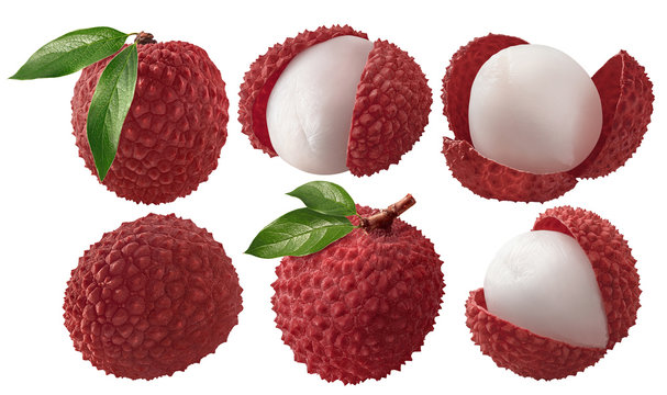 Fresh lychee with leaves set isolated on white background