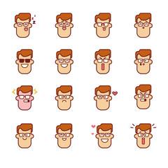 Vector Emoji Man Set Isolated On White Background