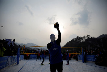 Giba Godoy of Brazil plays during an event promoting the Snow Volleyball hosted by FIVB and CEV in Pyeongchang