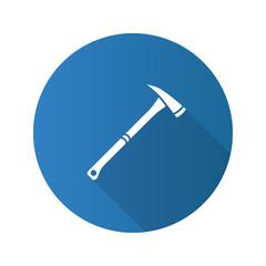 Fire axe flat design long shadow glyph icon