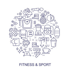 Sport and fitness, food icons arranged in a cirle. Thin line flat design, isolated vector clipart.