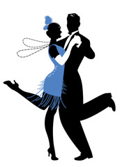 Fototapete - Silhouettes of couple wearing clothes in the style of the twenties dancing Charleston