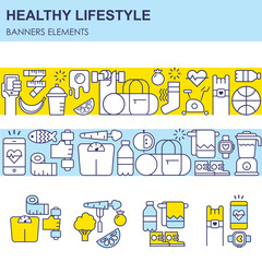 Sport and healthy lifestyle infographics with different sport and fitness, food elements arranged in a cirle. Thin line flat design, isolated vector clipart.