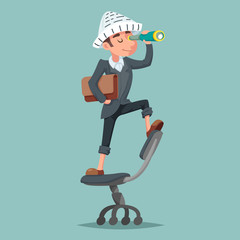 Adventurer hat newspaper businessman mascot pirate spyglass cartoon character design vector illustration