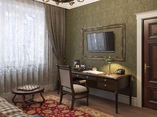 Дизайн рабочего кабинета в английском стиле.