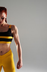 cropped shot of muscular woman