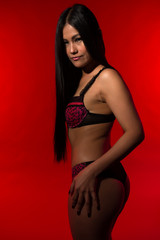 Filipina in red and black