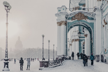 State Hermitage Museum during winter weather, Winter Palace in Saint Petersburg. Palace Square in Russia. Beautiful historic builduing and destination for tourists. Tourism and travel concept