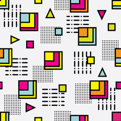 Seamless memphis style pattern with colorful geometrical shapes