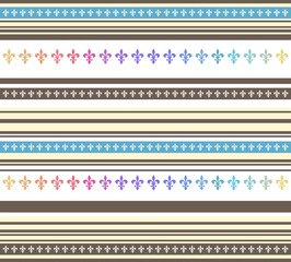 Seamless horizontal striped pastel colored pattern with lily flower (Fleur de lis). Endless texture for wallpaper, web page background, textile design, wrapping paper etc
