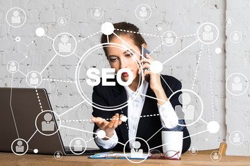 Wall Mural - Businessman pressing button seo network online