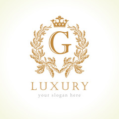Luxury G letter and crown monogram logo. Laurel elegant beautiful round identity with crown and wreath. Vector letter emblem G for Antique, Restaurant, Cafe, Boutique, Hotel, Heraldic, Jewelry