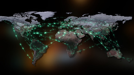 3D rendering of the best concept of the global network, the Internet, global communication, business, traffic flows. Elements of this image furnished by NASA