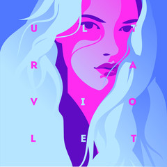 Fashion portrait of a model girl and neon light. Ultraviolet trendy colors poster or flyer.