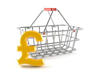 Metal basket with pound symbol