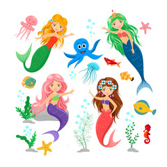 Cute cartoon mermaids and sea animal set. Octopus, jellyfish, seahorse, alga, starfish and mermaids isolated on white background