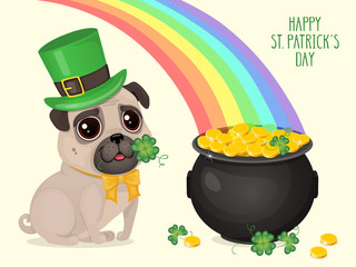 """Saint Patricks Day card with a cute pug in Leprechaun hat and pot of gold. Cartoon sweet dog with clover and rainbow. Vector illustration with text """"Happy St. Patricks Day""""."""