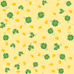 Saint Patricks Day seamless pattern with clover and golden coins. Vector cartoon spring background.